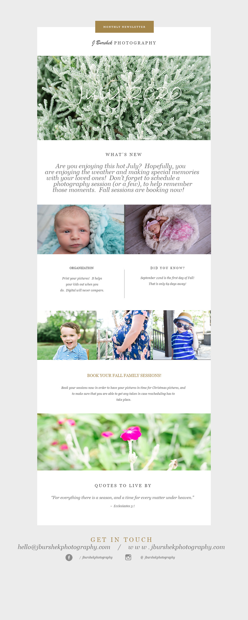 July Newsletter, J Burshek Photography, Flowers, Edmond, Oklahoma, Photographer, Fall Sessions, Family Photographer, Style, Kid Photographer, Maternity Pictures, Organizational Tips, Photography Tips, Tips