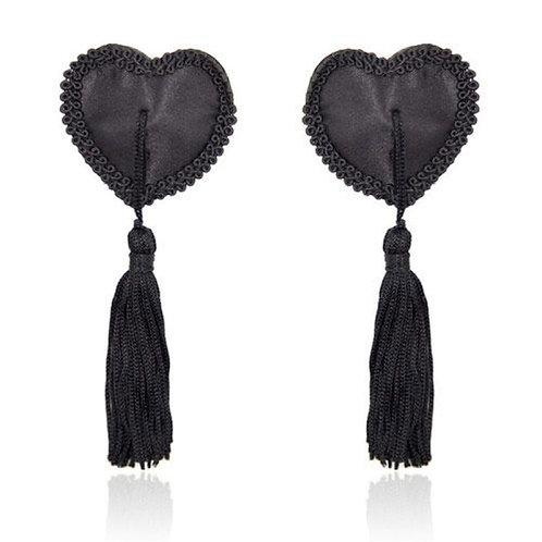 Διακοσμητικά Θηλών σε Σχήμα Καρδιάς με Διακοσμητικά Φουντάκια -Μαύρο