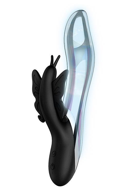 """Rabbit Δονητής  με 10 Δονήσεις """"Naghi Magenta"""" (20cm) - Μαύρο"""