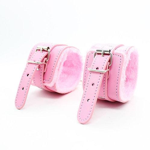 Ροζ Χειροπέδες με Γούνα
