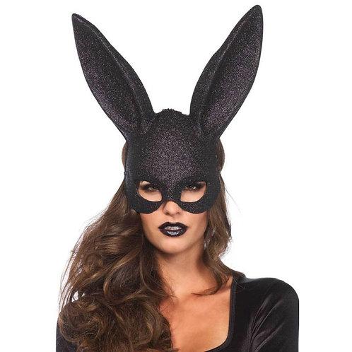Μαύρη Μάσκα Λαγουδάκι με Glitter-Glitter Masquerade Rabbit