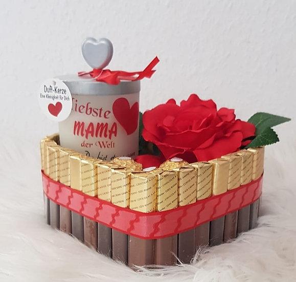 Schokoladenherz mit Duftkerze - Liebste Mama der Welt