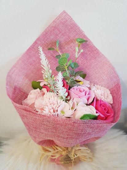 Großer Blumenstrauß aus Seife - Rosatöne