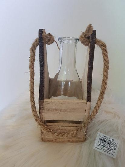 Glasvase mit Holzgestell