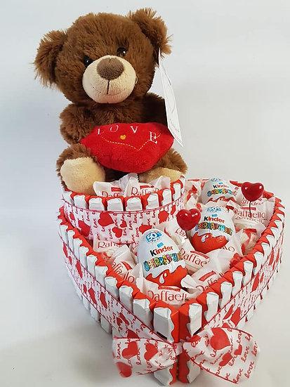 Schokoladenherz mit Teddy