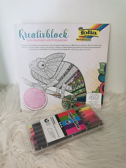 Kreativblock-Set mit Stiften