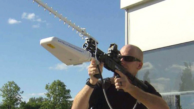 Battelle's DroneDefender is shoulder-fire anti-drone weapon in use in Iraq.