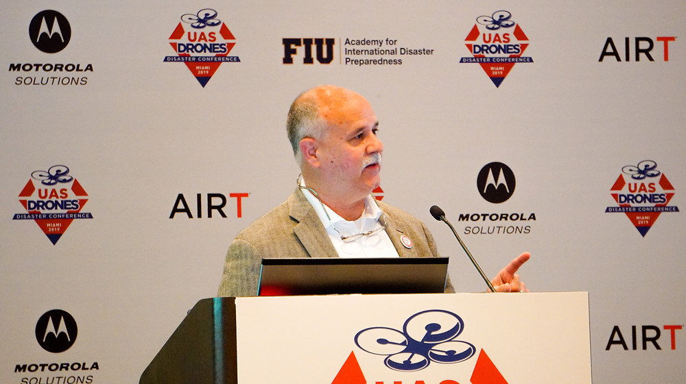 Charles Werner announces the launch of the DRONERESPONDERS Public Safety Alliance at FIU in Miami.