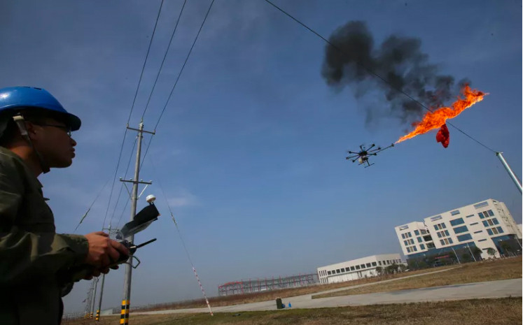 Fire breathing dragon drone in China