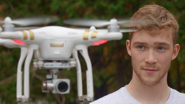 College student Nick Howe flies his DJI Phantom drone