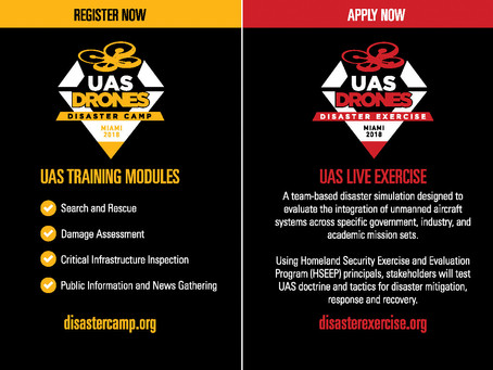 UAS DRONES Disaster Camp and Disaster Exercise Dates Announced
