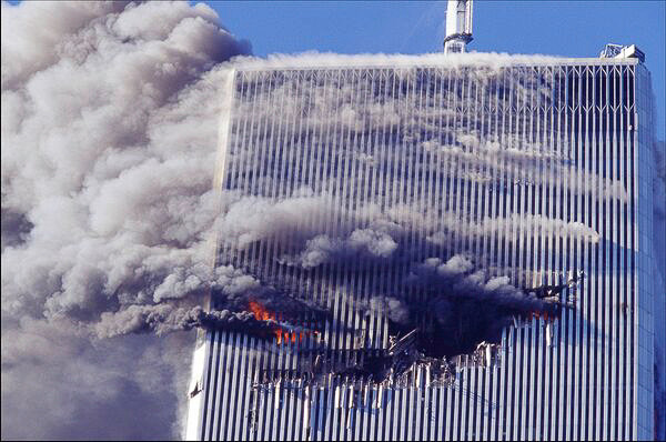 The North Tower of the World Trade Center after being struck by American Airlines Flight 11 on September 11, 2001.