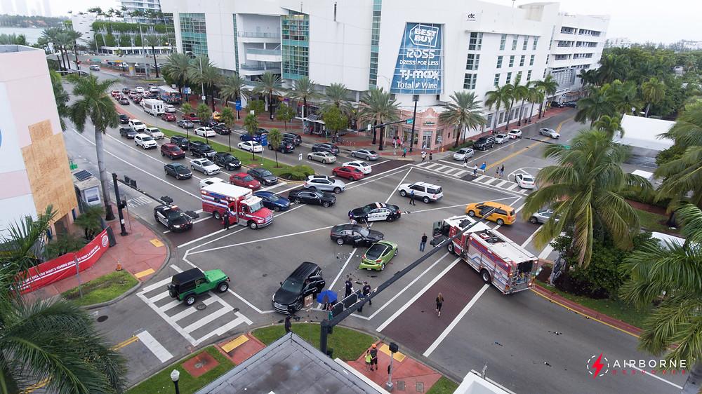 Traffic accident in Miami Beach, Florida