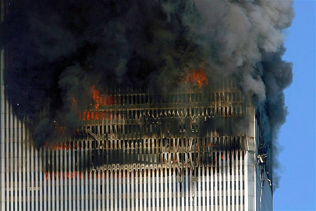 The South Tower of the World Trade Center after being struck by United Airlines Flight 175 on September 11, 2001.