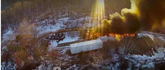 A drone provides situational awareness at a quarry fire