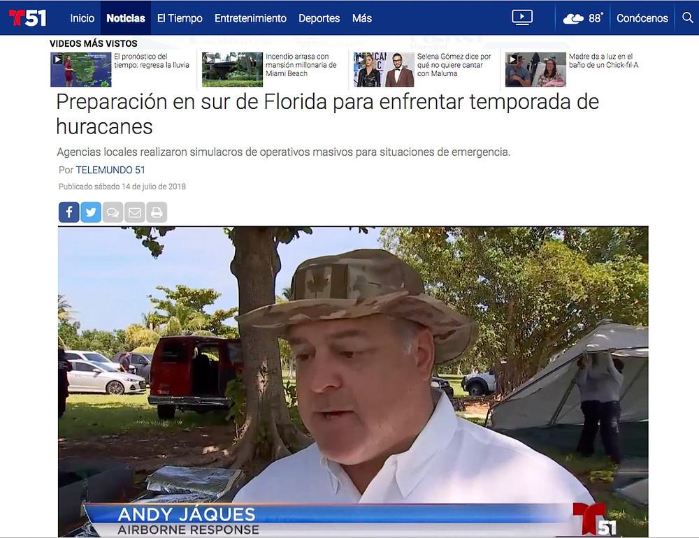 Airborne Response Andy Jaques on Telemundo 51 Miami