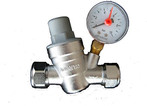 Pressure Reducing Valve 22mm / 15mm c/w Gauge
