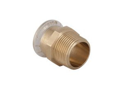 "Geberit Mapress 61703 male iron straight connector 15mm x 1/2"" Copper"