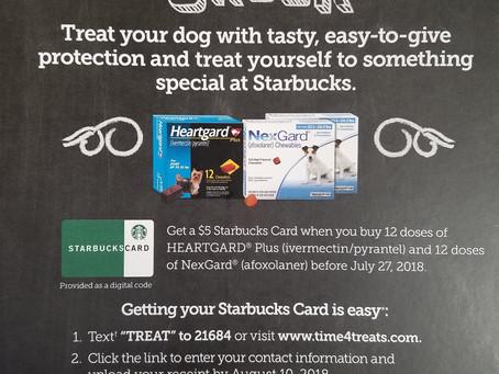 Get $50, 2 Free Doses of Nexgard and a Starbucks Card!