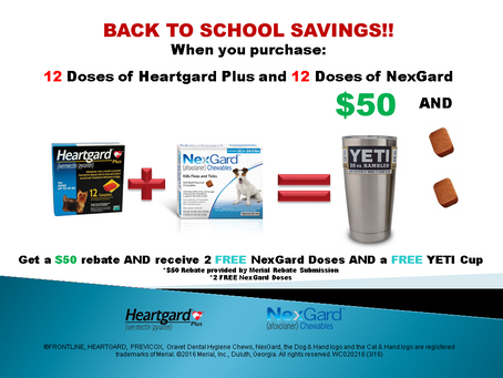 Get $50 back, a Yeti Rambler and 2 free doses of Nexgard!