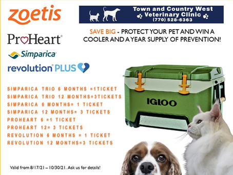 Protect your pet and win a cooler and a 1 year supply of prevention!