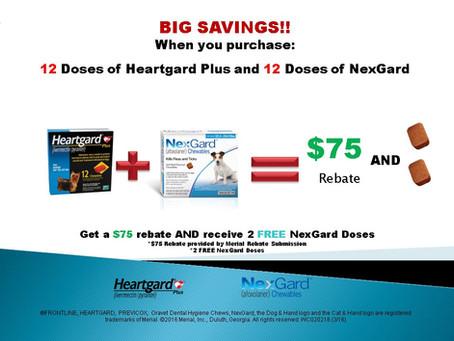 Get $75 back and 2 free doses of Nexgard