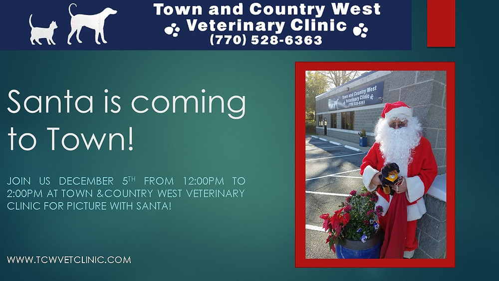 Santa is coming to Town & Country West Veterinary Clinic!
