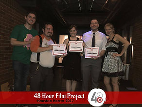 "Cast and crew of Houston 48HFP award-winne ""Umbrella Killer."" Pictured: John Mayo, David Toscano, Cassie Randall, Conor Farrell, Laura Schlect"