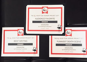 "Houston 48HFP award-winner ""Umbrella Killer"" won Audience Favorite, Best Writing, and Funniest Death Scene"