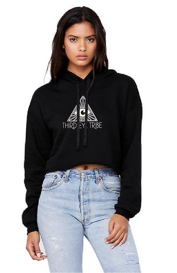 Women's Cropped Fleece Hoodie - Black
