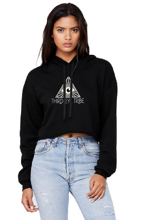 Women's Cropped Fleece Hoodie - Black