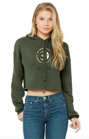 Women's Cropped Fleece Hoodie - MILITARY GREEN