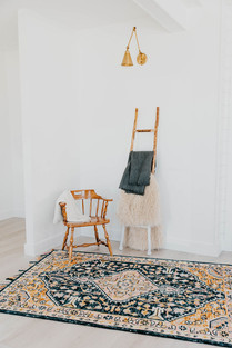 Vintage Wooden Chair, Rug, Ladder with Blankets