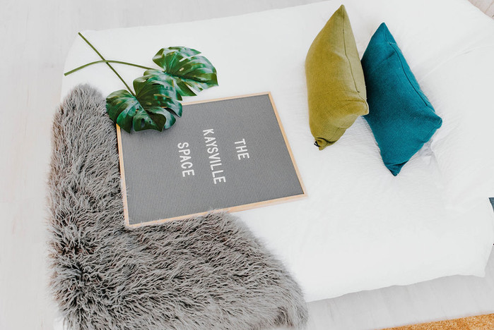 Bed, Letterboard, Pillows & Leaves