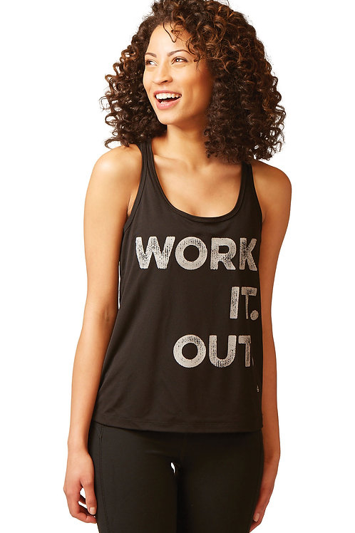 WORK. IT. OUT. Performance Racerback Tank