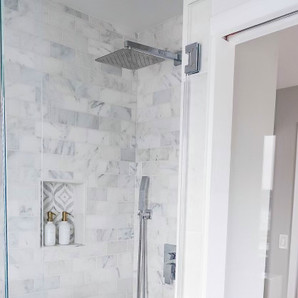 Walk-in marble shower