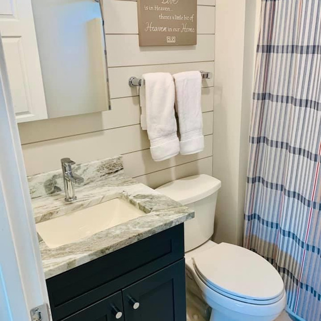 Bathroom with shiplap and granite