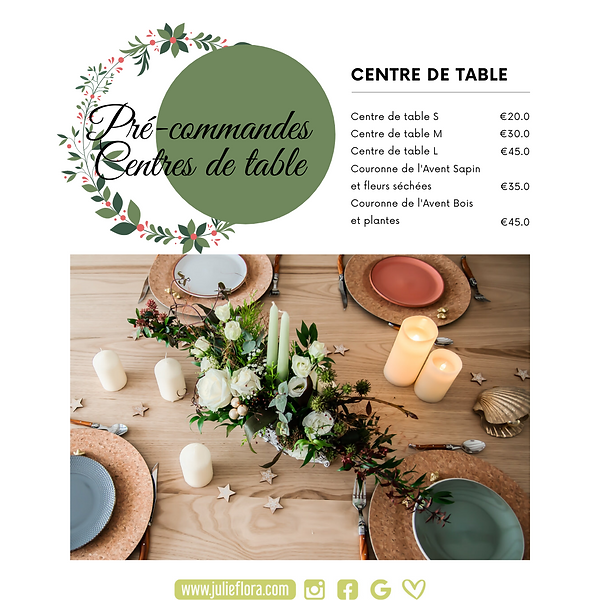 Centres de table Noël - Julie Flora Nantes