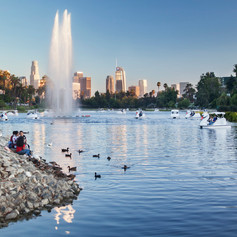 Echo Park Lake with Downtown