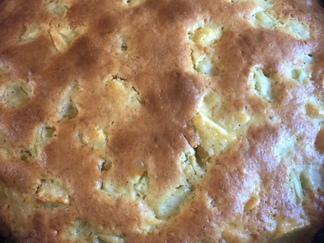 Gâteau pommes/rhubarbe