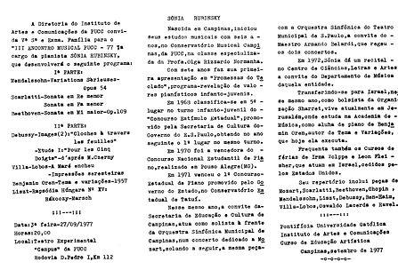 1977 S.R Institut des arts, Campinas, Br