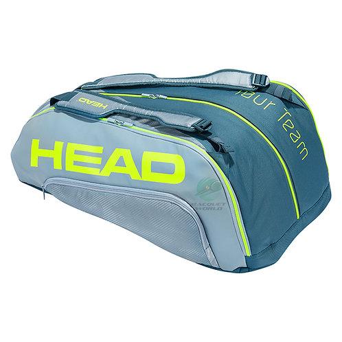 Head Tour Team Extreme 12 Racquet Monstercombi - Grey/Neon Yellow