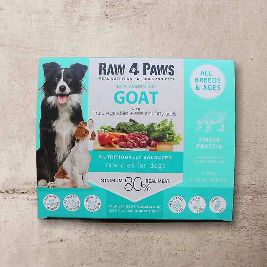 Raw 4 Paws Goat for DOGS 1.6kg 8 x 200g Portions INSTORE ONLY