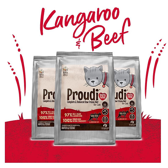 Proudi® Raw Frozen Kangaroo & Beef Patties For CATS 1.26kg PICK UP ONLY