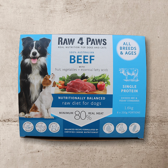 Raw 4 Paws Beef for Dogs 1.6kg 8 x 200g Portions INSTORE ONLY