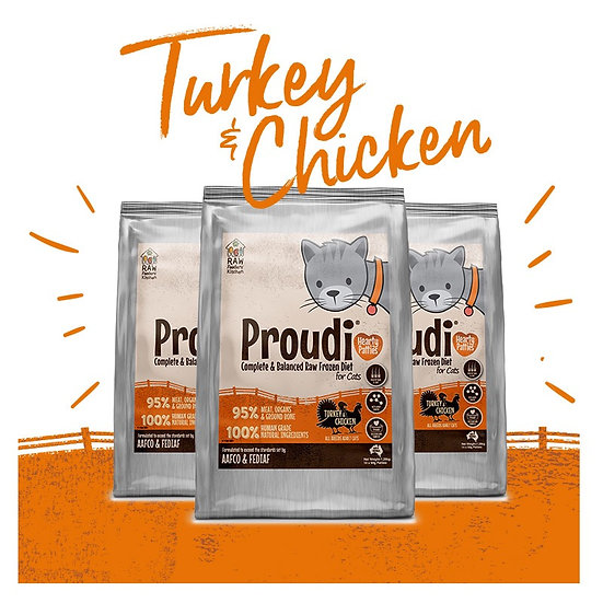 Proudi® Raw Frozen Turkey & Chicken Patties For CATS 1.26kg INSTORE ONLY
