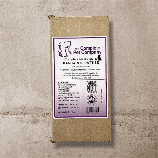 Free Range Kangaroo Patties 1kg for CATS ~ The Complete Pet Company INSTORE ONLY