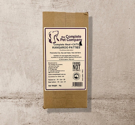 Free Range Kangaroo Patties 1kg for CATS ~ The Complete Pet Company PICK UP ONLY