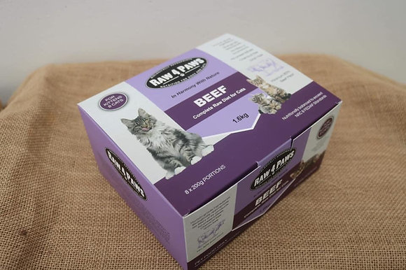 Raw 4 Paws Beef for CATS 1.6kg 8 x 200g Portions PICK UP ONLY