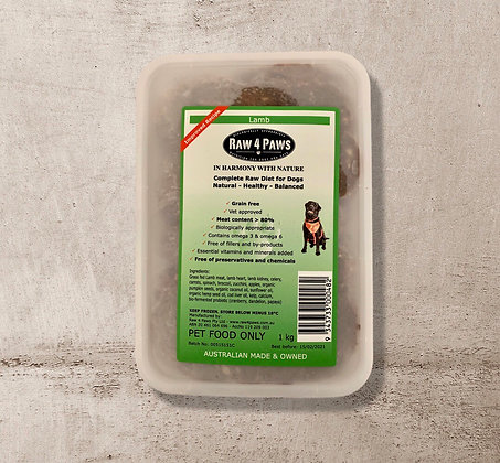 Raw 4 Paws Lamb for DOGS 1kg Containers PICK UP ONLY